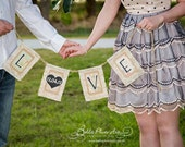 LOVE & DATE Wedding Garland, Burlap and Lace Engagement Banner, Save the Date Photo Prop, Vintage Style Wedding Decor