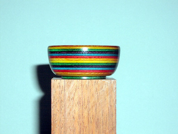 Rainbow Colorwood Supported Spinning Bowl ,style 19