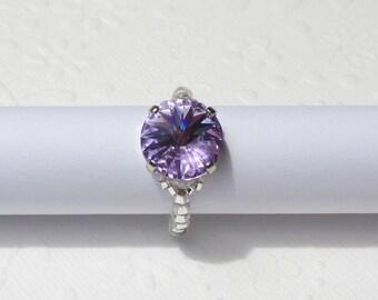 Lavender Swarovski Crystal Stretchy Ring, Purple Crystal Ring