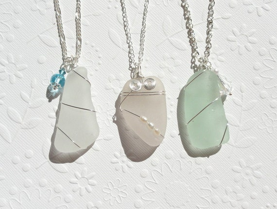 RESERVED Set of Three Sea Glass Pendants