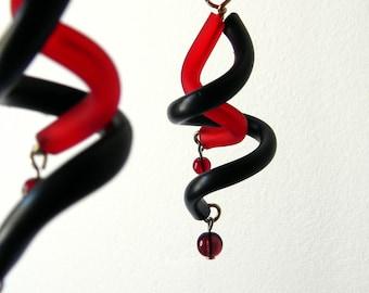 Black Red dangle earrings spiral - minimalist geometric tribal earrings boho rubber curls modern design