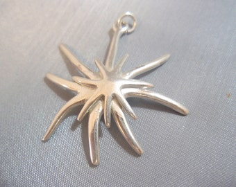 Solid Sterling Silver 925 Starfish Pendant
