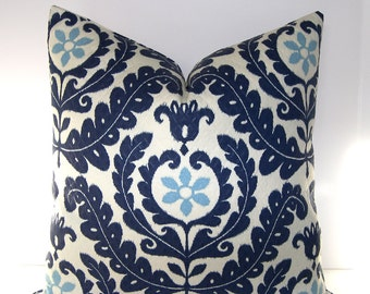 Decorative Designer Pillow Cover - Indoor Outdoor - Navy Blue - Light Blue and Ivory