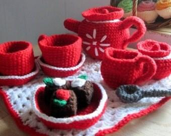 Crochet Red & White Tea Set