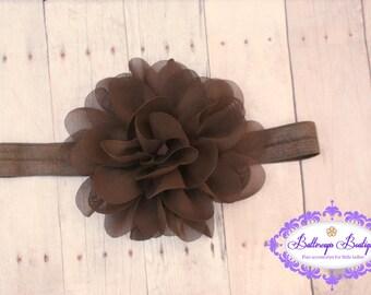 Brown headband, brown flower headband, brown baby headband, brown hairband, chiffon flower headband, dark brown headband, large flower