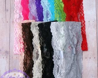 Lace headband, lace turban, adult turban, baby turban, interchangeable headband, stretchy lace headband, you choose color, lace head wrap