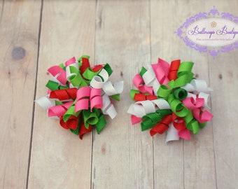 Set of mini korker hair bows, watermelon korker bow