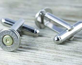Bullet Cuff Links / 223 Bullet Cufflinks WIN-223-NB-CL / Silver Cufflinks / Wedding Cufflinks / Groomsmen Gift / Wedding Gift