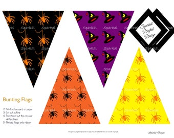 Halloween Printable Party Banner Bunting   Halloween Digital Paper  Spider Clip Art Party Clipart Digital Scrapbooking no. HB-100