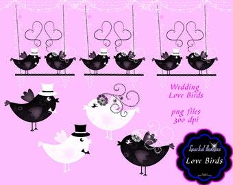 Love Bird Clip art Instant Download Love Birds Clipart Digital Scrapbooking Wedding Clipart Bird wedding clipart Lovebirds L1513