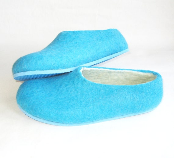 Turquoise Slippers for Women, Color Blocking, Rubber Soles, Womens Slippers, Handmade Slippers, Gift for Mother, Gift for Her, Gifts for Mom