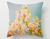 Pillow Cover, Turquoise Pillow, Throw Pillow, Pink Blossoms, Living-Room Pillow, 16x16 Pillow Decorative, Home Decor - Miami Summer II