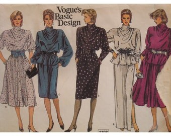 Drape Neck Dress Pattern,Batwing Sleeves, Straight/Full Skirt, Top, Vogue Basic Design No. 1198 Size 12 (cut) OR UNCUT Size 18