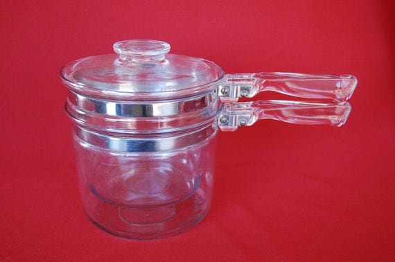Vintage Pyrex Flameware Double Boiler  MADE IN USA and in Excellent Condition