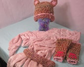 Child's Pink furry kitty cat costume dress up kit with Cat hat, cat mittens, and tail