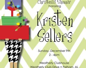 Stacked Gifts Christmas Shower Invitation, Christmas Bridal Shower Custom Digital Invitation