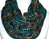 Plaid Infinity Scarf, Cotton Gauze in Brown and Turquoise, Loop Scarf, Eternity Scarf, Circle Scarf