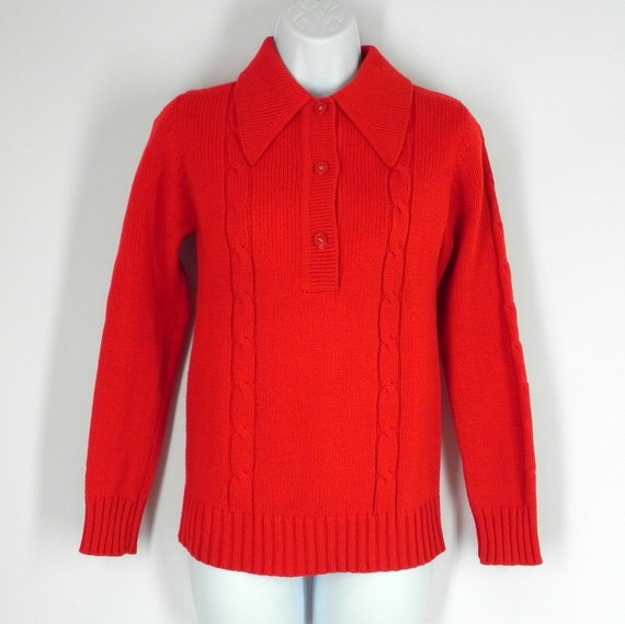 Child's Cherry Red Sweater Pullover Cable Knit Long