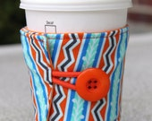 Reusable Fabric Coffee Cozy - Blue, Teal, and Orange Stripes - Lou Lou Thi Anna Maria Horner - Stockings in Tango - Pretty Handmade Present