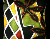 """Hand Painted  Silk  Throw Pillow -  """"Leaves""""-  Made-to-Order"""