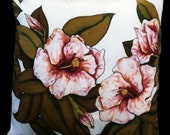 """Hand Painted  Silk  Throw Pillow -  """"Pretty in Pink"""" -Made to Order"""