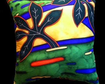 Set of 2 Hand Painted Silk Throw Pillows - LEAVES AND DOTS -  Made-To-Order