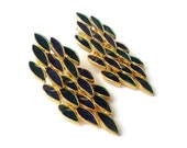 Vintage Peacock Earrings, Jointed Enamel Earrings, Flexible Dangle Earrings, Gold Tone Costume Jewelry, Pierced Earrings, MINT- Must See