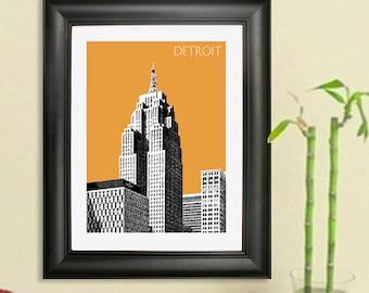 Detroit City Skyline #2 - Detroit Skyline Poster Art Print 2, 8x10 - Choose your color