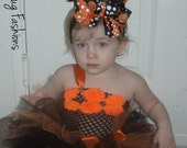 Shabby Rose Trim Halloween tutu dress  newborn to 6t