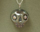 ceramic pearly black skull necklace