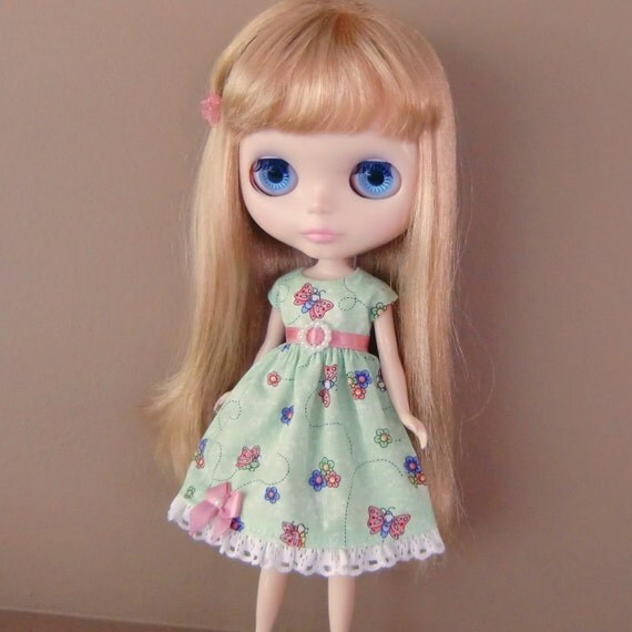 CLEARANCE SALE - Green and Pink Butterfly Summer Dress for Blythe