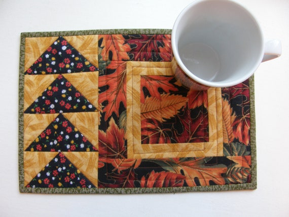 Quilted Mug Rug - Autumn Leaves and Flying Geese