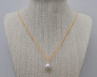 Yellow Irish Linen Cord Pearl Pendant Necklace