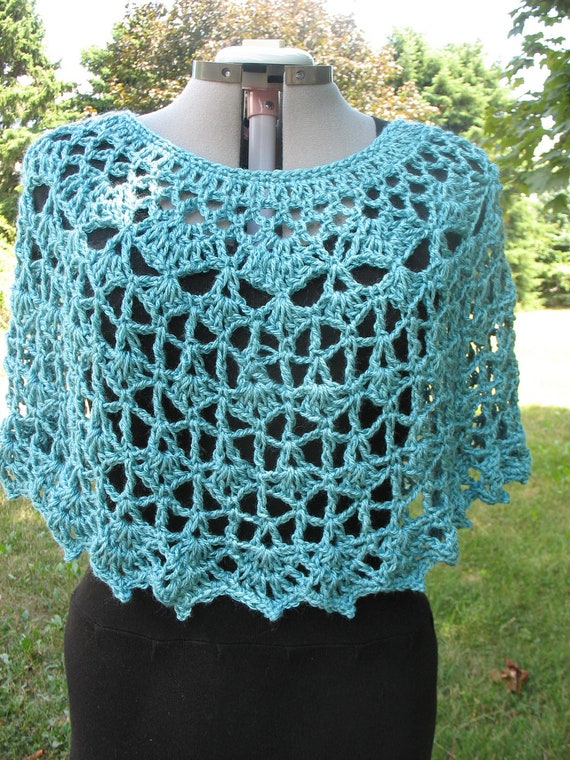 Lacy Crochet Ladies Capelet, Poncho, Cover Up, Shawl, Shoulder Wrap, Stole, Sweater, Top- In Turquoise Bamboo Blend