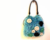 Turquoise Shoulder Bag, Handmade Turquoise Luxury Yarn, Black Leather Strap, Crochet Flowers, Cotton Padded Floral Lining, OOAK