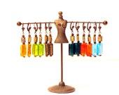 Bright Glass Drop Boho Chic Earrings,  Brass Glass Beads, Brass Lever Back Hooks