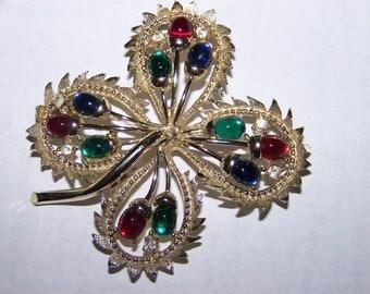 Vintage Signed Cathe' 4 Leaf Clover Brooch