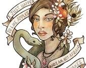 SECONDS SALE - Slightly Imperfect Print - 8.5x11 - Eve and snake, lyrics by Ani DiFranco