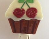 Fused Glass Cupcake with Cherries Nightlight 1