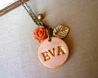 Name necklace - Rose and Leaf  - Shabby Chic - Romantic