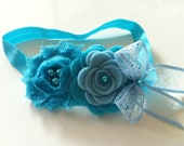 Turquoise and baby blue chiffon, felt flower headband - chicsweetbabytique