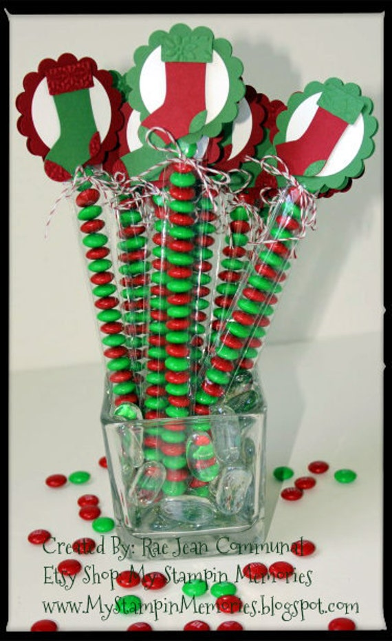 12 Holiday Christmas Stocking Party Favor Treat Bags Hang Tags Candy Tubes Toppers Red Green Birthday Gift Personalized Candy