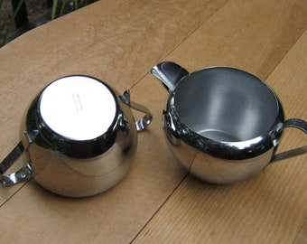 Industrial Mid Century Mod - Perma Bright Chrome Cream and Sugar Set - National Silver Co - Oak Hill Vintage