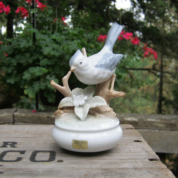 SALE - Porcelain Music Box With Blue Bird Made in Japan