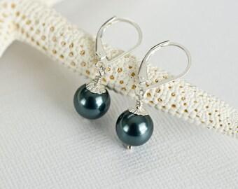 Bridesmaids Tahitian Swarovski Pearls  Earrings in Sterling Silver, Peacock Teal Blue Pearl Earrings
