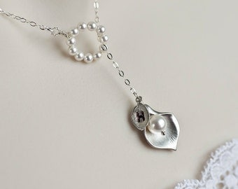 Initial Necklace, Lariat Necklace, Rhodium Plated Calla Lily and Swarovski Pearls Lariat Sterling Silver Necklace