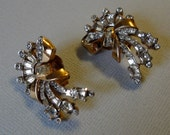 Vintage Rhinestone Earrings Rose Gold tone signed Mazer with clear rhinestone rounds and baguettes designer Joseph Mazer clip on