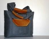 Caramel Leather Bag Gray Blue Suede Satchel