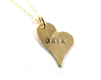 Handstamped Necklace - Personalized Necklace - Stylized Heart Necklace - 14k Gold-Filled