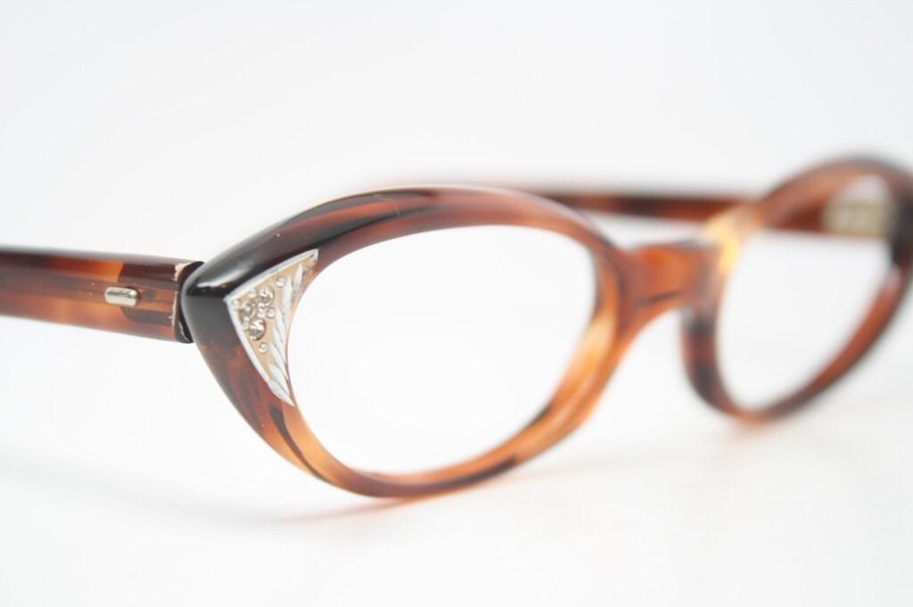 Cat Eye Rhinestone Eyeglass Frames : Tortoise rhinestone cat eye glasses vintage pointy cateye
